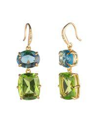 Carolee - Multicolor Gold-tone Stone Double Drop Earrings - Lyst