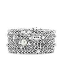 Lagos - Metallic Derby Small Buckle Sterling Silver Caviar Bracelet - Lyst