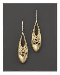 Roberto Coin - Metallic 18k Yellow And White Gold Diamond Teardrop Golden Gate Earrings - Lyst