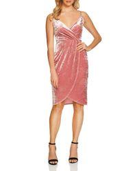 Cece by Cynthia Steffe - Pink Audrey Velvet Wrap Dress - Lyst