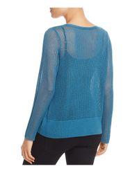 Eileen Fisher - Blue V-neck Sheer-knit Sweater - Lyst