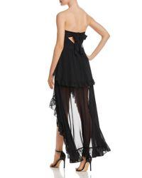Aqua - Black Strapless Ruffled Maxi Dress - Lyst