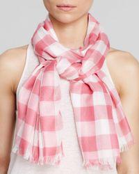 Aqua - Pink Gingham Scarf - Lyst