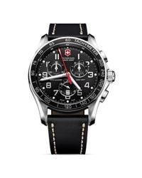 Victorinox | Black Chrono Classic Xls Stainless Steel & Leather Chronograph Strap Watch for Men | Lyst