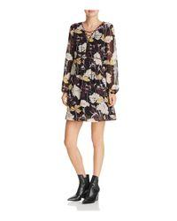 Ella Moss - Black Floral Haze Front Lace-up Dress - Lyst
