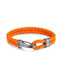 John Hardy | Men's Classic Chain Silver Hook Station Bracelet In Orange Leather Cord for Men | Lyst