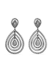 David Yurman | Metallic Cable Classics Teardrop Earrings With Diamonds | Lyst