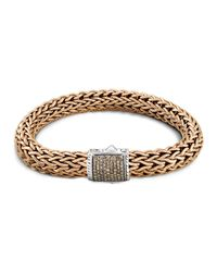 John Hardy | Men's Classic Chain Sterling Silver And Bronze Large Chain Bracelet With Brown Pave Diamonds for Men | Lyst