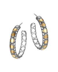 John Hardy   Metallic Sterling Silver & 18k Gold Naga Medium Hoop Earrings   Lyst