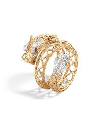 John Hardy   Metallic 18k Gold Naga Diamond Pavé Dragon Coil Ring With African Ruby Eyes   Lyst