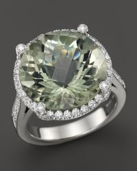 Roberto Coin | 18k White Gold Ipanema Round Green Amethyst And Diamond Ring | Lyst
