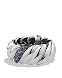 David Yurman   Metallic Hampton Cable Bracelet With Grey Diamonds & Sapphires   Lyst