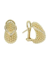Lagos | Metallic 18k Gold Flame Omega Diamond Earrings | Lyst