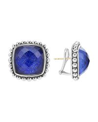 Lagos | Blue Sterling Silver Maya Lapis Doublet Square Earrings | Lyst
