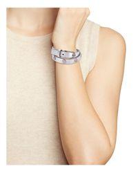 Tory Burch - Metallic Double Wrap Logo Stud Bracelet - Lyst