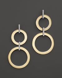 Roberto Coin | Metallic 18k Yellow And White Gold Diamond Round Drop Earrings | Lyst