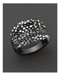 Roberto Coin | Black Ruthenium Plated Sterling Silver Stingray Concave Ring | Lyst