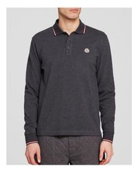 Moncler | Gray Maglia Long Sleeve Polo - Regular Fit for Men | Lyst