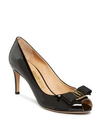 Ferragamo - Black Pola Peep Toe Pumps - Lyst