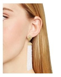 Aqua - White Leslie Tassel Drop Earrings - Lyst