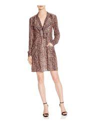 BCBGMAXAZRIA | Natural Damario Cheetah Print Tie Neck Dress - 100% Exclusive | Lyst