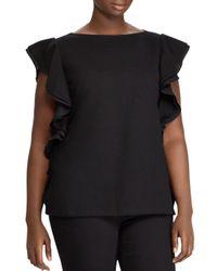 Ralph Lauren - Black Lauren Plus Cascading Ruffle Top - Lyst