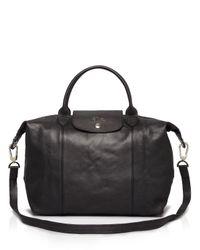 Longchamp | Black Le Pliage Medium Leather Satchel | Lyst