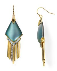 Alexis Bittar - Metallic Lucite Fringed Chevron Cabochon Chandelier Earrings - Lyst