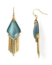 Alexis Bittar | Metallic Lucite Fringed Chevron Cabochon Chandelier Earrings | Lyst