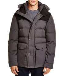 Cole Haan | Gray Mixed Media Hooded Down Jacket | Lyst