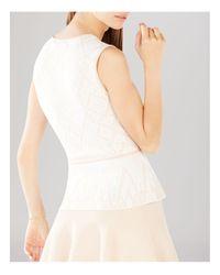 BCBGMAXAZRIA | White Alonya Jacquard Peplum Top | Lyst
