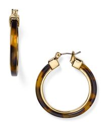 Pink Pony - Brown Lauren Faux Tortoise Shell Hoop Earrings - Lyst