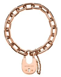 Michael Kors | Pink Padlock Link Bracelet | Lyst