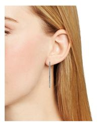 Nadri - Metallic Pavé Teardrop Hoop Earrings - Lyst