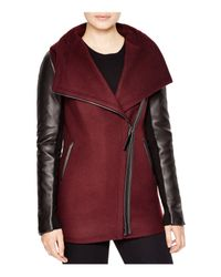 Mackage Purple Odilia Leather Sleeve Coat