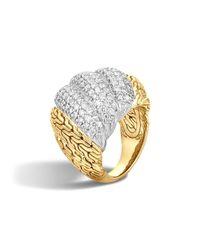 John Hardy | Metallic Classic Chain 18k Gold Diamond Pave Dome Ring | Lyst