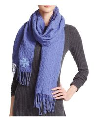 Tory Burch | Blue Whipstitch Signature T Scarf | Lyst