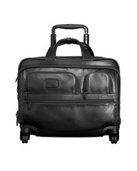 Tumi | Black Alpha 2 Deluxe 4-wheel Leather Brief With Laptop Case for Men | Lyst