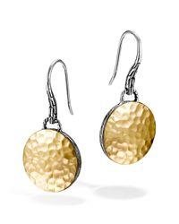 John Hardy | Metallic Sterling Silver & 18k Gold Palu Round Drop Earrings | Lyst