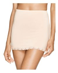 Hanky Panky   Natural Silky Fitted Lace Trim Half Slip   Lyst