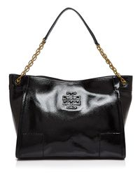 Tory Burch | Black Britten Patent Slouchy Tote | Lyst
