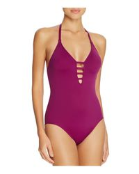 La Blanca - Pink Black Multistrap Cross Back One Piece Swimsuit - Lyst