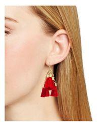 Aqua - Red Katie Multi Tassel Drop Earrings - Lyst