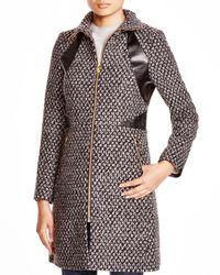 Via Spiga | Brown Popcorn-stitch Coat With Faux Leather Trim | Lyst