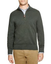 Brooks Brothers - Green Cotton Cashmere Pique Quarter Zip Pullover for Men - Lyst