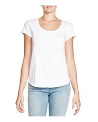Eileen Fisher - White Organic Cotton Scoop Neck Tee - Lyst