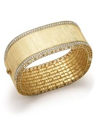 Roberto Coin | Metallic 18k Yellow Gold And Diamond Large Satin Princess Bangle | Lyst