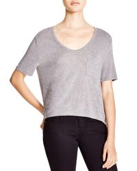 T By Alexander Wang | Gray Classic Cropped Tee With Pocket | Lyst