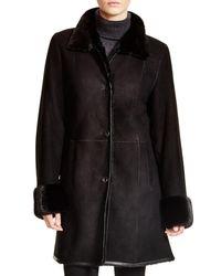 Maximilian | Black Maximilian Shearling Coat With Mink Collar & Cuffs | Lyst