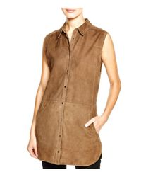 Vince | Brown Sleeveless Suede Tunic | Lyst